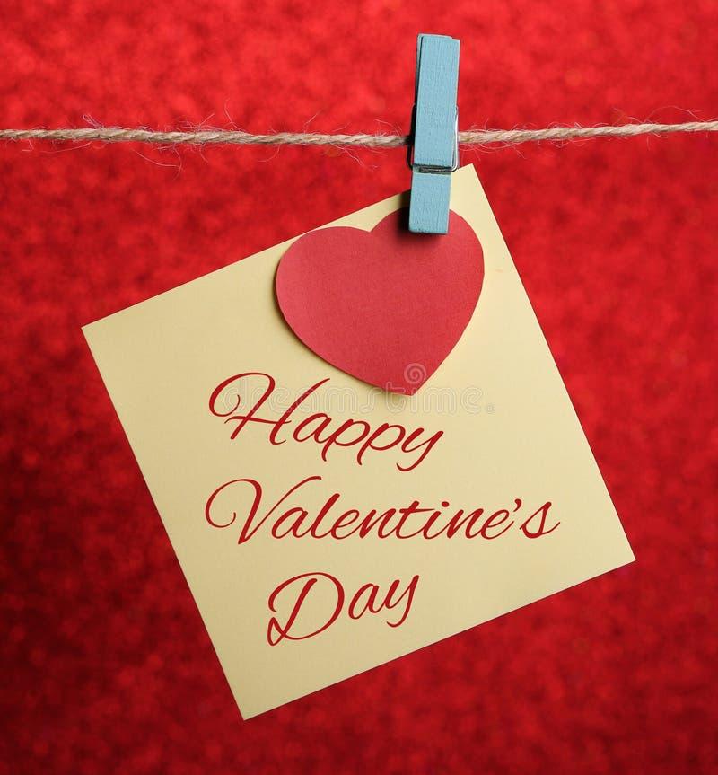 Línea de Valentine Note Paper Hanging On foto de archivo libre de regalías