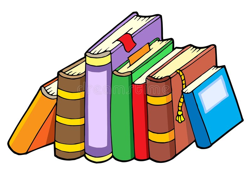 Línea de varios libros stock de ilustración