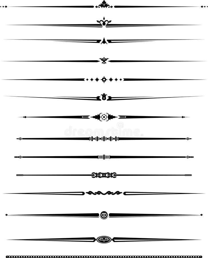 Línea decorativa conjunto ilustración del vector