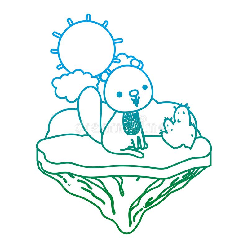 Línea degradada animal agradable del castor en la isla del flotador libre illustration