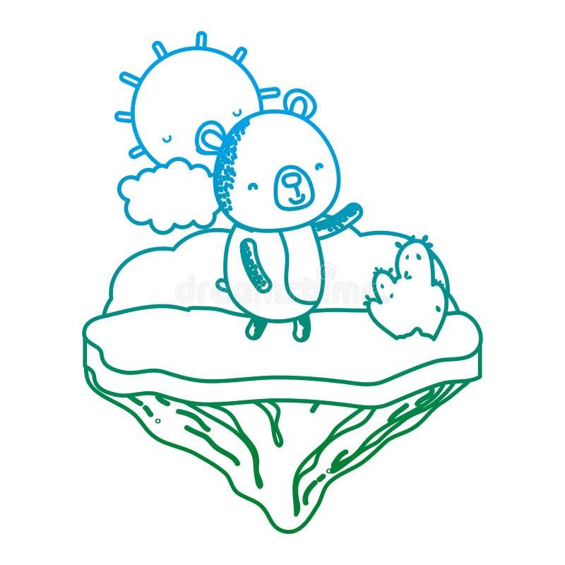 Línea degradada animal agradable del oso en la isla del flotador libre illustration