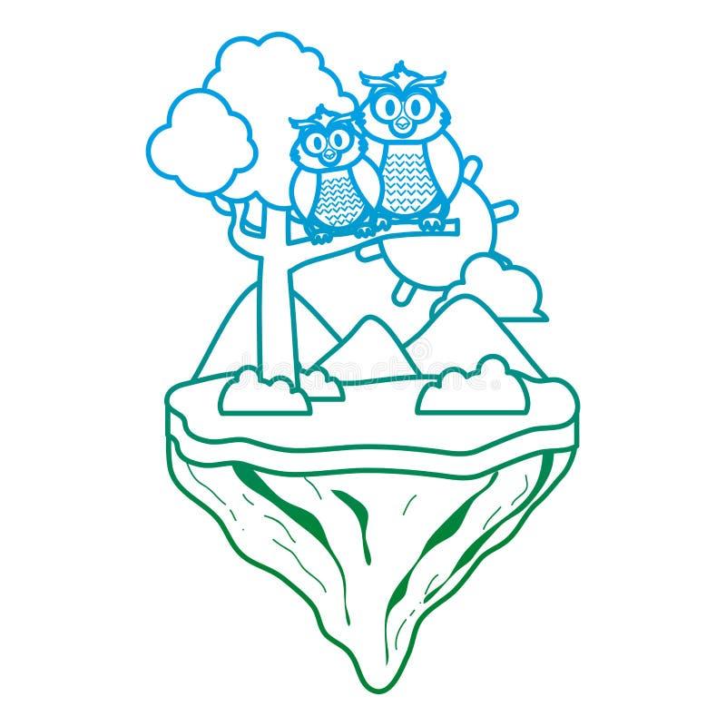 Línea degradada animal del búho de los pares en la isla del flotador stock de ilustración