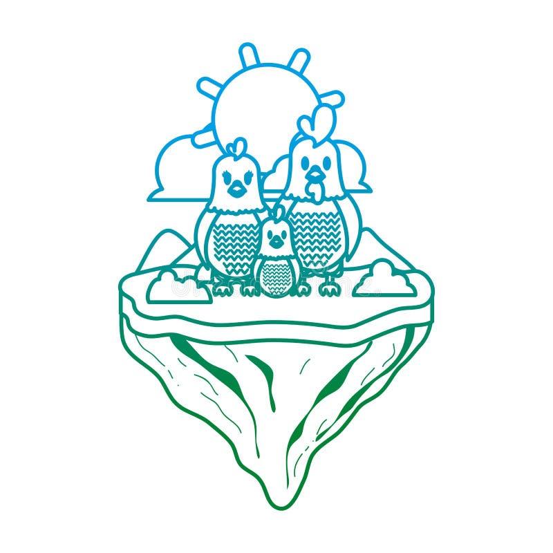 Línea degradada animal del pollo de la familia en la isla del flotador ilustración del vector
