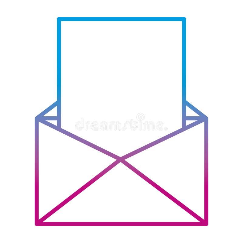 Línea degradada correo electrónico con la información del texto del documento stock de ilustración