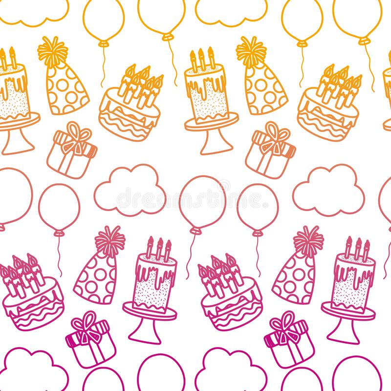 Línea degradada fondo de la decoración del partido del feliz cumpleaños stock de ilustración