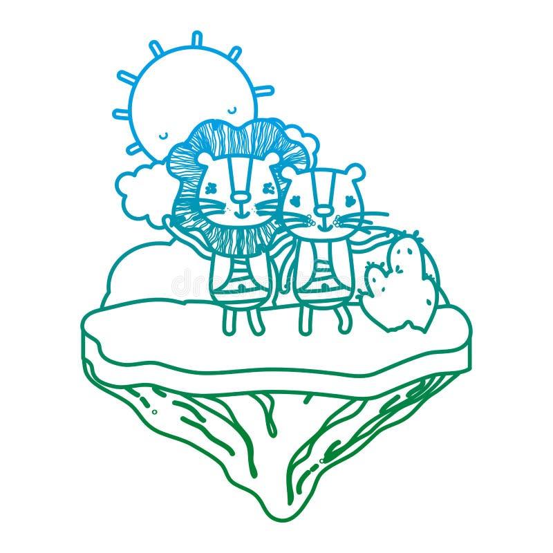 Línea degradada león feliz de los pares en la isla del flotador libre illustration