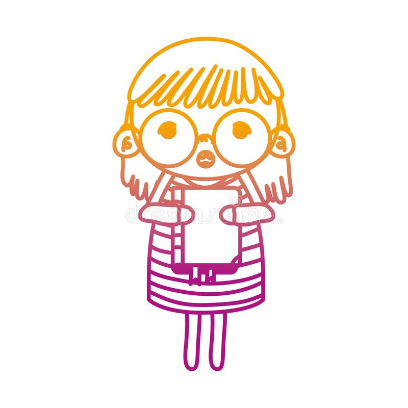 Línea degradada niño de la muchacha con los vidrios y el libro de la educación libre illustration