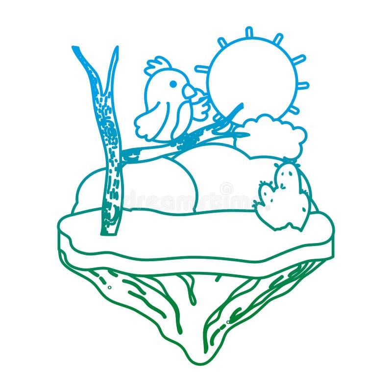 Línea degradada oso agradable con la rama en la isla del flotador libre illustration