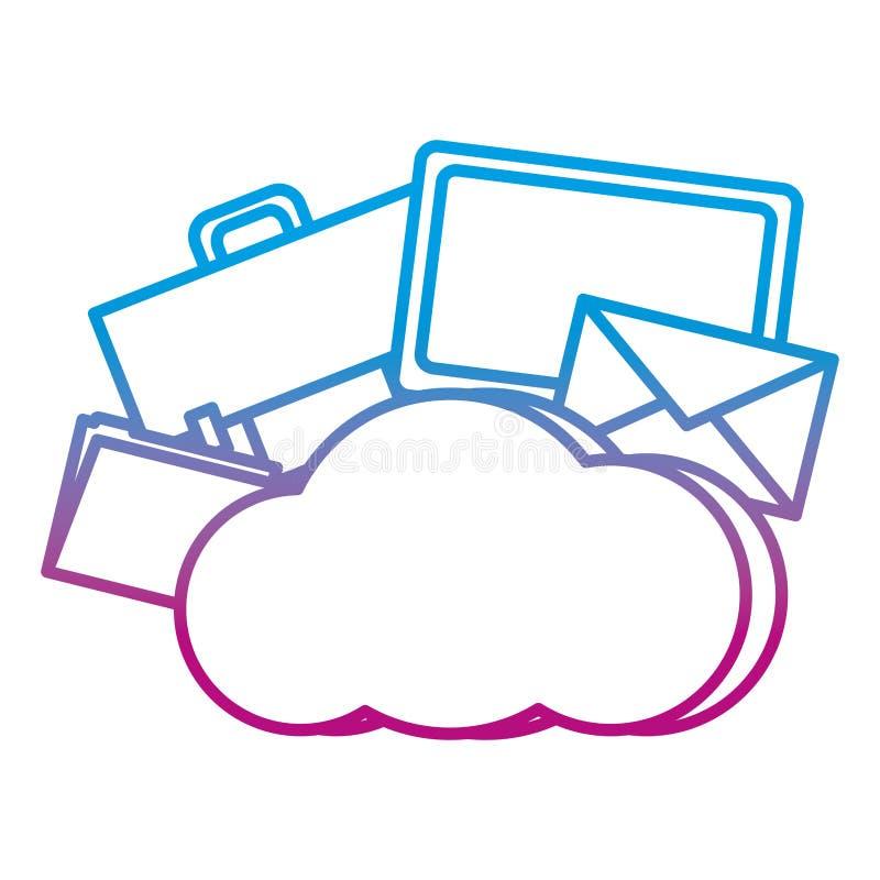 Línea degradada servidor de la conexión de red de datos de la nube libre illustration