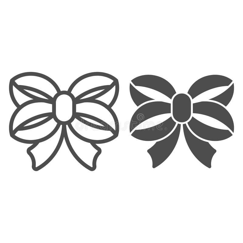 Línea del arco de la cinta e icono del glyph Ejemplo anudado doble del vector del arco aislado en blanco Diseño atado del estilo  ilustración del vector
