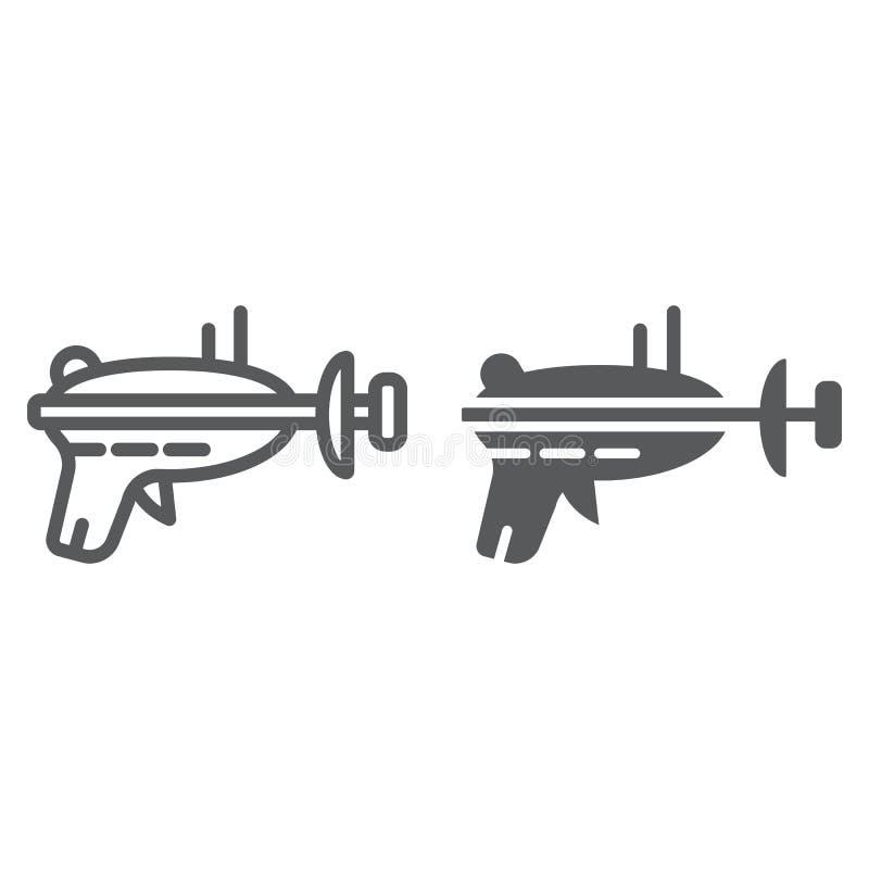 Línea del arenador e icono del glyph, espacio y arma, muestra del arenador del laser, gráficos de vector, un modelo linear stock de ilustración