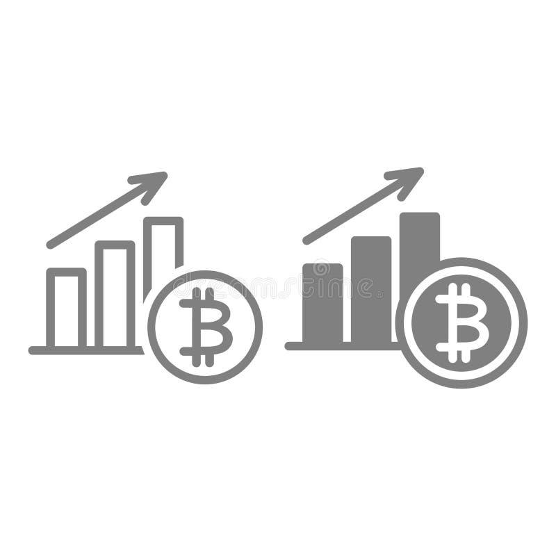 Línea del aumento de Bitcoin e icono del glyph Ejemplo del vector del crecimiento de Cryptocurrency aislado en blanco Esquema del libre illustration