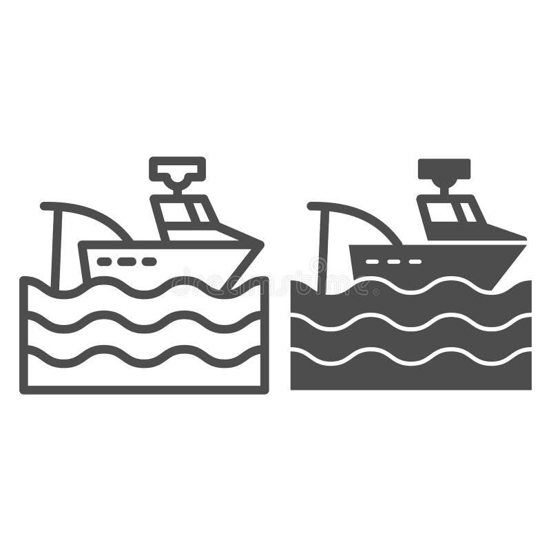 Línea del barco pesquero e icono del glyph Ejemplo del vector del barco de pesca aislado en blanco Diseño del estilo del esquema  stock de ilustración