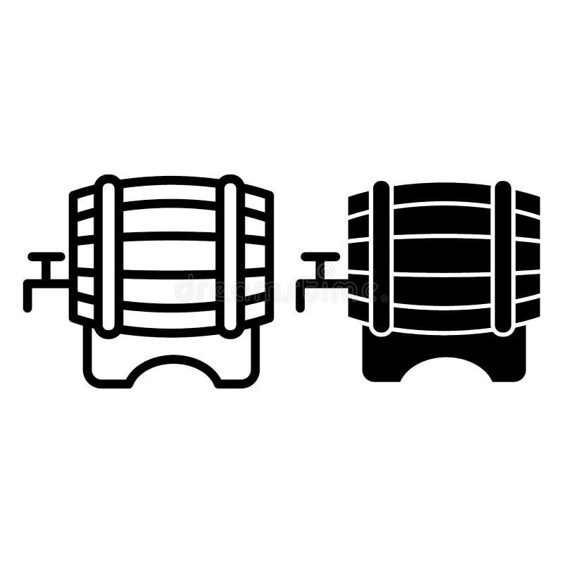Línea del barril de cerveza e icono del glyph Barril de cerveza con un ejemplo del vector del golpecito aislado en blanco Estilo  ilustración del vector