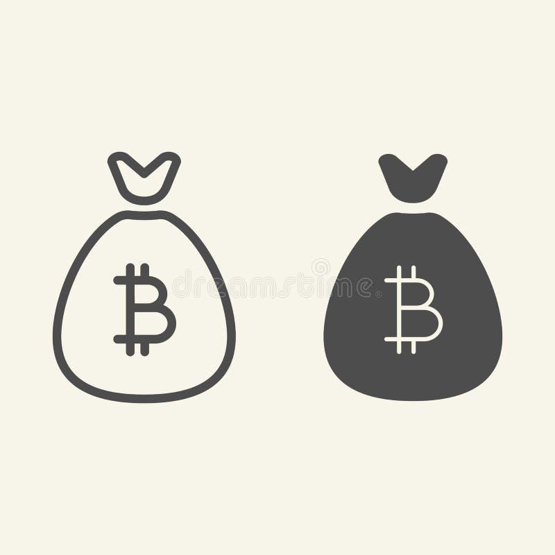 Línea del bolso de Bitcoin e icono del glyph Ejemplo del vector de los ahorros de Cryptocurrency aislado en blanco Esquema Crypto stock de ilustración