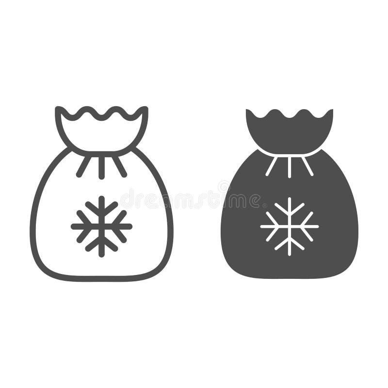 Línea del bolso de Papá Noel e icono del glyph Ejemplo del vector de los regalos de Navidad aislado en blanco Diseño del estilo d stock de ilustración