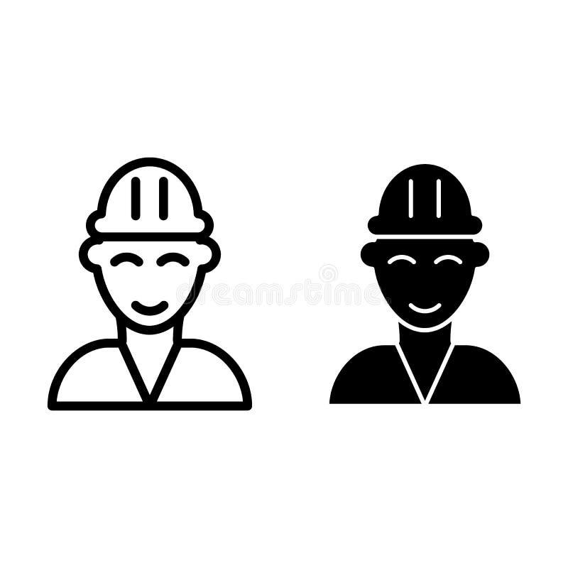 Línea del bombero e icono del glyph Ejemplo del vector del constructor aislado en blanco Diseño del estilo del esquema del bomber stock de ilustración
