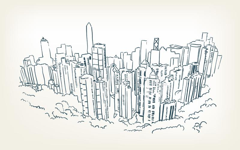 Línea del bosquejo del rascacielos del ejemplo del vector de Hong-Kong libre illustration