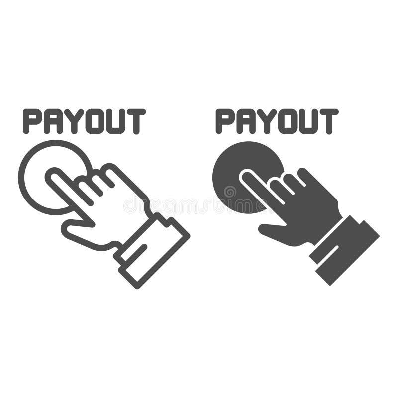 Línea del botón del desembolso e icono del glyph Ejemplo del vector de la mano y del botón de la paga aislado en blanco Estilo de stock de ilustración