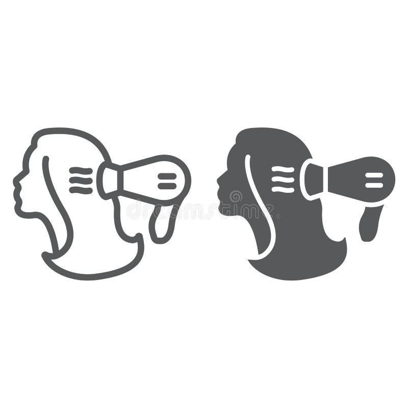 Línea del brushing e icono del glyph, peluquero y blowdryer, muestra del secador de pelo, gráficos de vector, un modelo linear en ilustración del vector