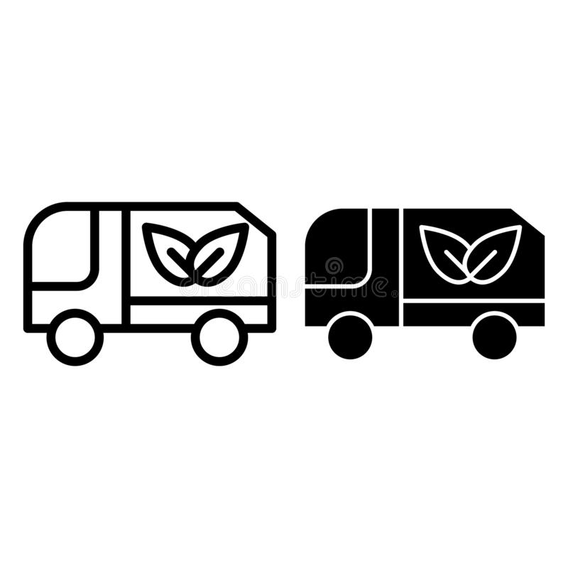 Línea del camión de Eco e icono del glyph Camión con el ejemplo del vector del cargo del eco aislado en blanco Coche con el esque stock de ilustración