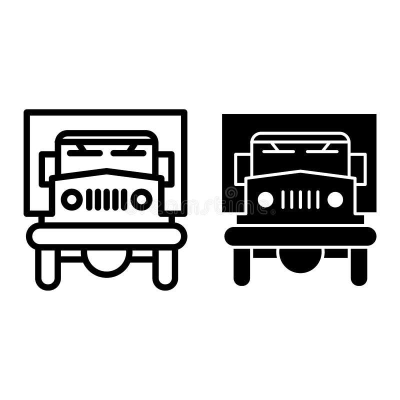 Línea del camión e icono del glyph Ejemplo del vector del transporte de la entrega aislado en blanco Diseño auto del estilo del e ilustración del vector