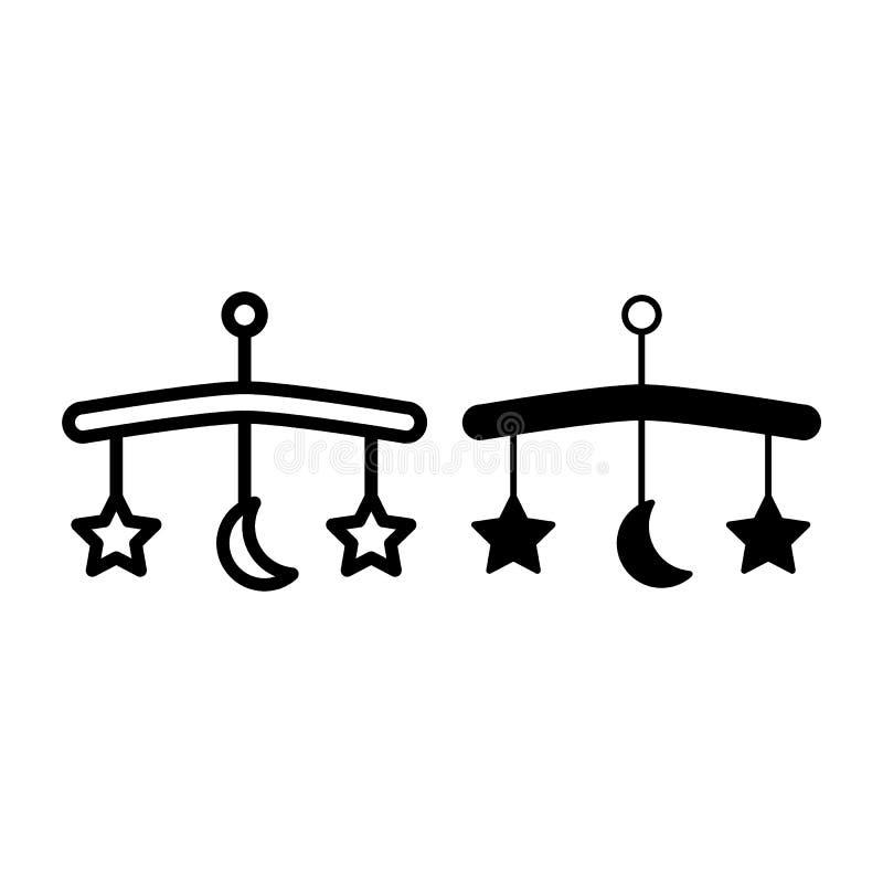 Línea del carrusel de la cama de bebé e icono del glyph Ejemplo móvil del vector del bebé aislado en blanco La ejecución juega es ilustración del vector