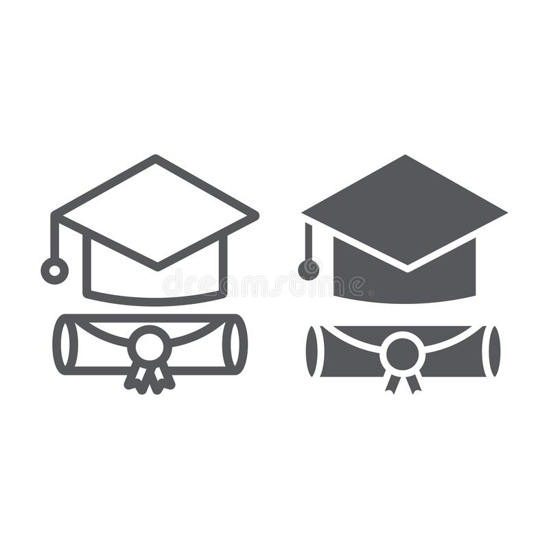 Línea del casquillo de la graduación e icono del glyph, graduado y conocimiento, muestra académica del sombrero, gráficos de vect stock de ilustración