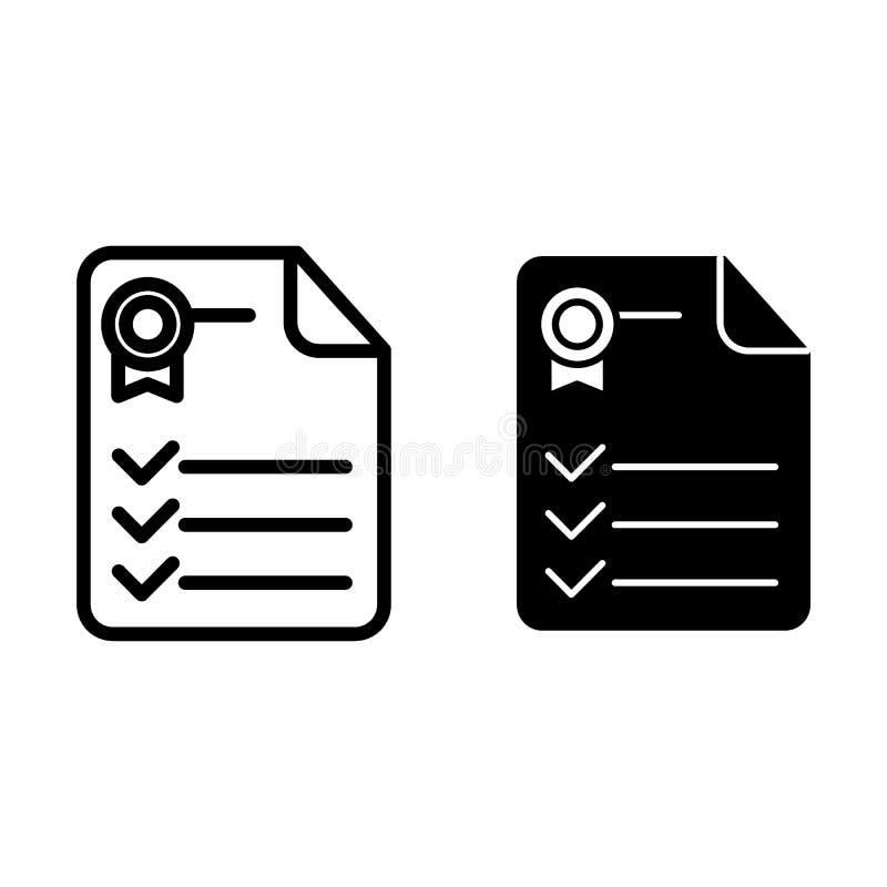Línea del certificado e icono del glyph Ejemplo del vector del documento del diploma aislado en blanco Diseño del estilo del esqu stock de ilustración