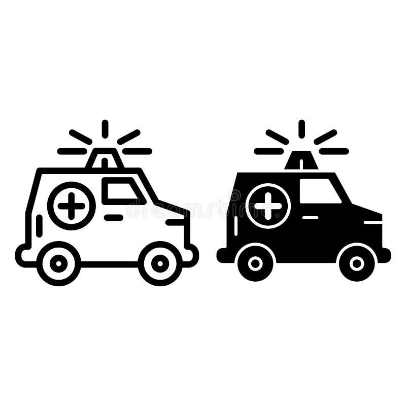 Línea del coche de la ambulancia e icono del glyph Coche médico con el ejemplo del vector del barco aislado en blanco Estilo del  ilustración del vector