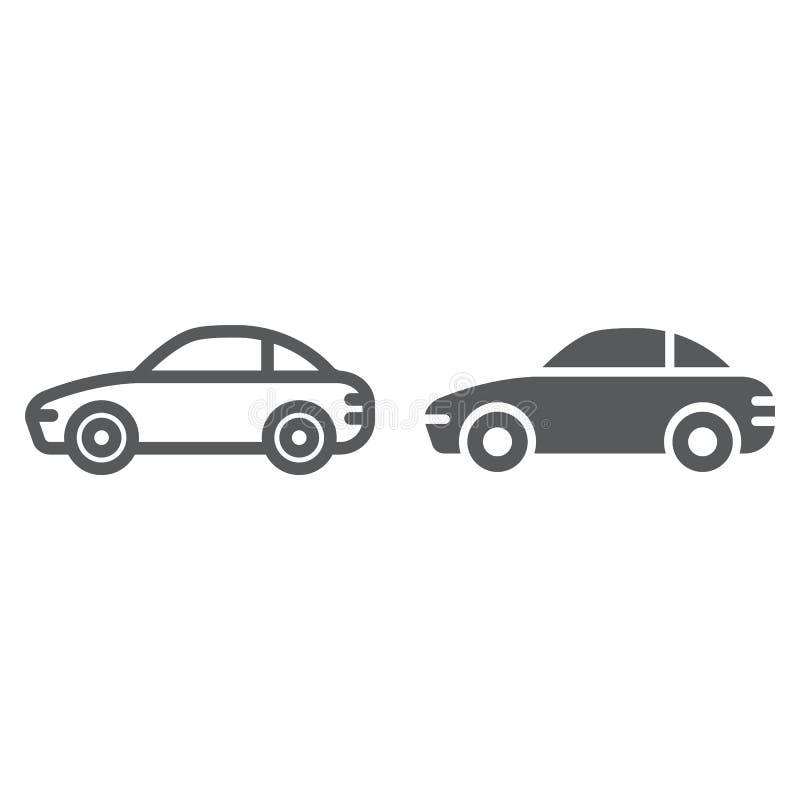 Línea del coche e icono del glyph, tráfico y vehículo, muestra del automóvil, gráficos de vector, un modelo linear en un fondo bl stock de ilustración