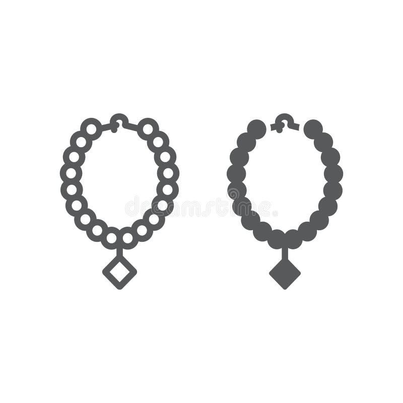Línea del collar de la perla e icono del glyph, joyería y accesorio, collar con la muestra de la gema, gráficos de vector, un mod ilustración del vector