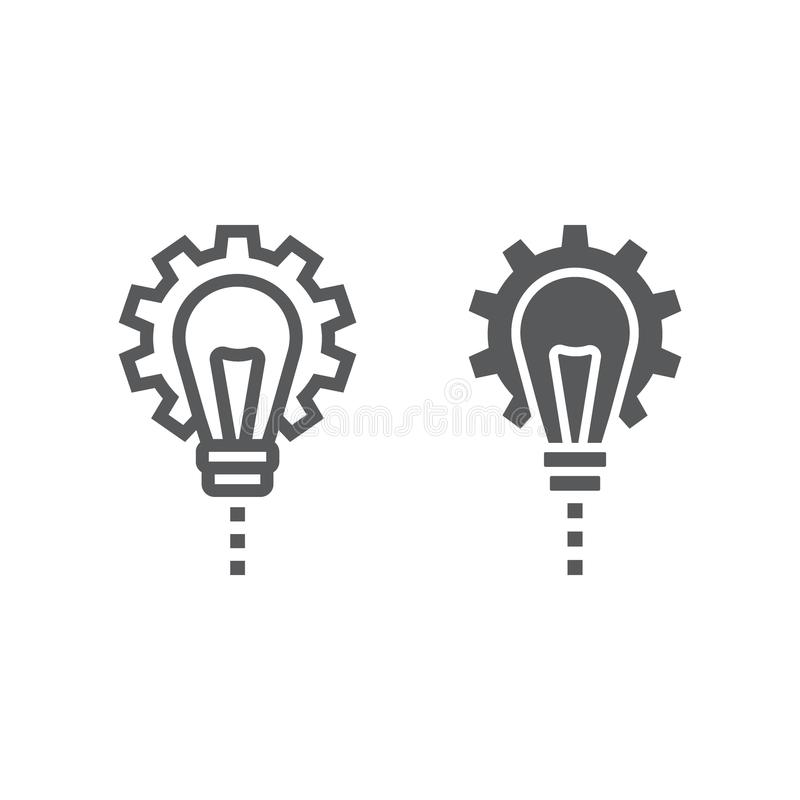 Línea del desarrollo de productos e icono del glyph stock de ilustración