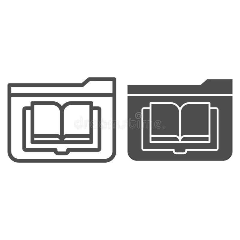 Línea del diario de la carpeta e icono del glyph Carpeta con el ejemplo del vector del libro aislado en blanco Esquema de la carp ilustración del vector