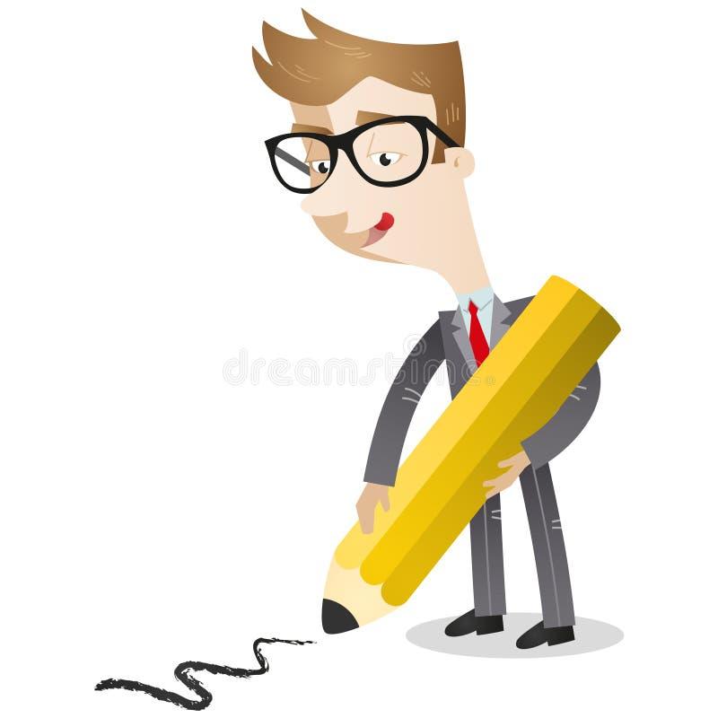 Línea del dibujo del hombre de negocios en piso libre illustration