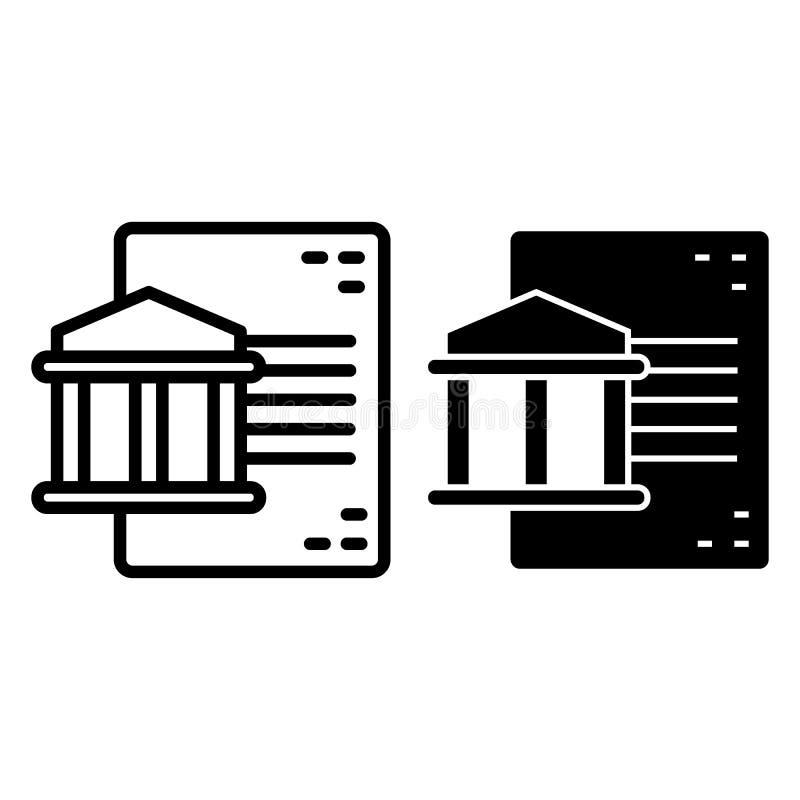 Línea del documento y de fachada e icono del glyph Ejemplo del vector de la documentación de la universidad aislado en blanco Aca stock de ilustración
