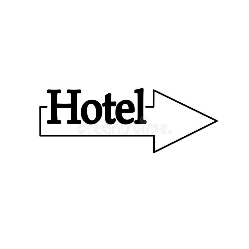 Línea del ejemplo del indicador de flecha del icono del hotel, EPS stock de ilustración