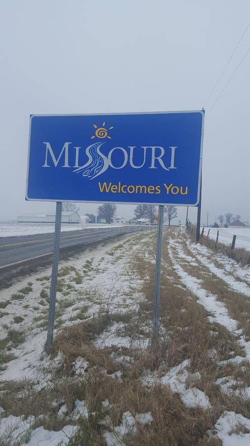 Línea del estado de Iowa y de Missouri fotografía de archivo