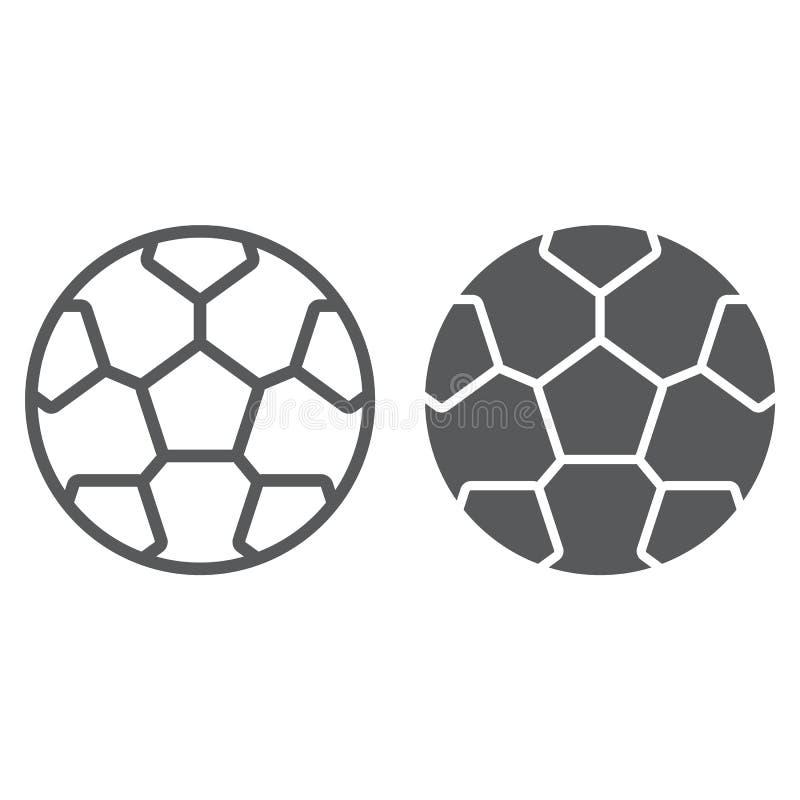 Línea del fútbol e icono del glyph, juego y deporte, muestra de la bola del fútbol, gráficos de vector, un modelo linear en un fo stock de ilustración