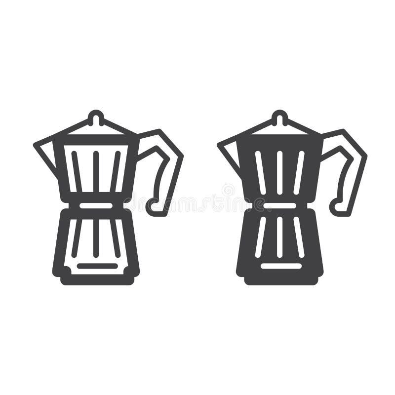Línea del fabricante de café del géiser e icono sólido, esquema y pictograma llenado de la muestra del vector, linear y lleno ais stock de ilustración