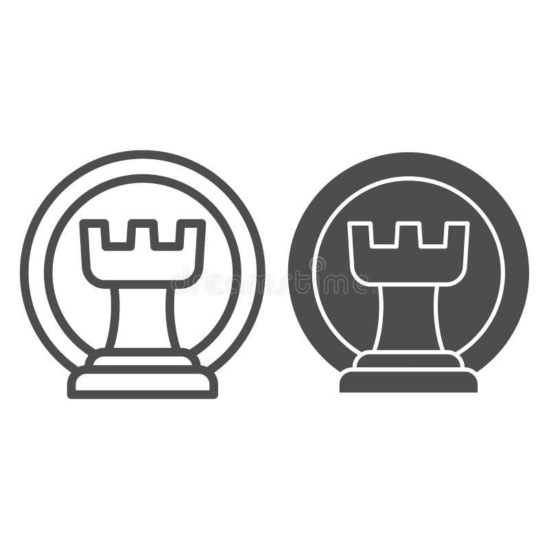Línea del grajo del ajedrez e icono del glyph Ejemplo del vector del castillo del ajedrez aislado en blanco Diseño del estilo del ilustración del vector