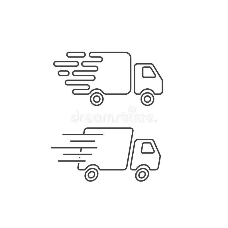 Línea del icono del camión de reparto, furgoneta rápida del buque mercante, transporte del mensajero ilustración del vector