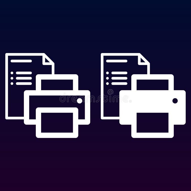 Línea del impresora y de papel del documento e icono sólido, esquema y pictograma llenado de la muestra del vector, linear y llen libre illustration
