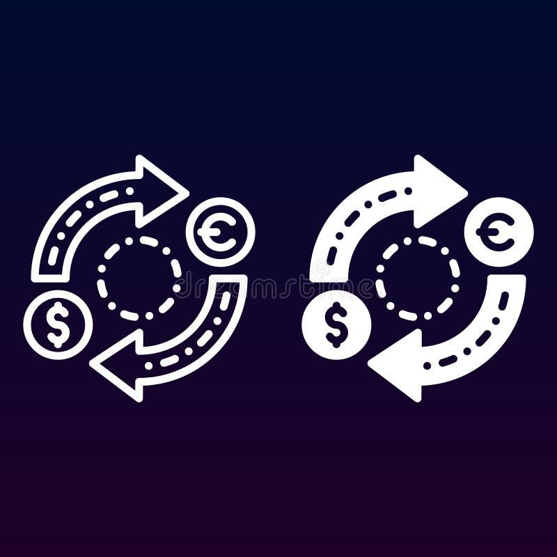 Línea del intercambio de moneda e icono sólido, esquema y pictograma llenado de la muestra del vector, linear y lleno aislados en libre illustration