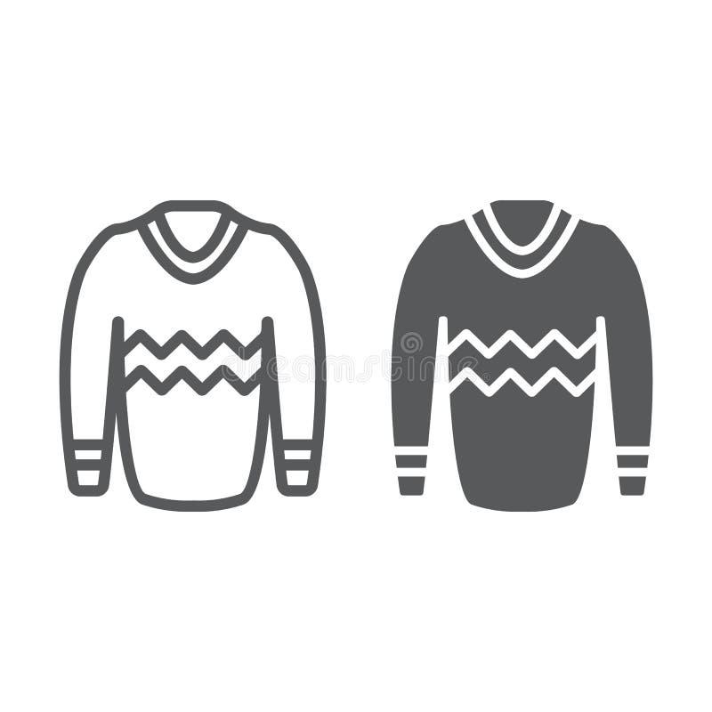 Línea del jersey e icono del glyph, ropa y moda, muestra del suéter, gráficos de vector, un modelo linear en un fondo blanco ilustración del vector
