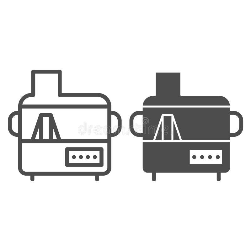 Línea del juicer e icono eléctricos del glyph Ejemplo del vector del hogar aislado en blanco Diseño del estilo del esquema del ar stock de ilustración