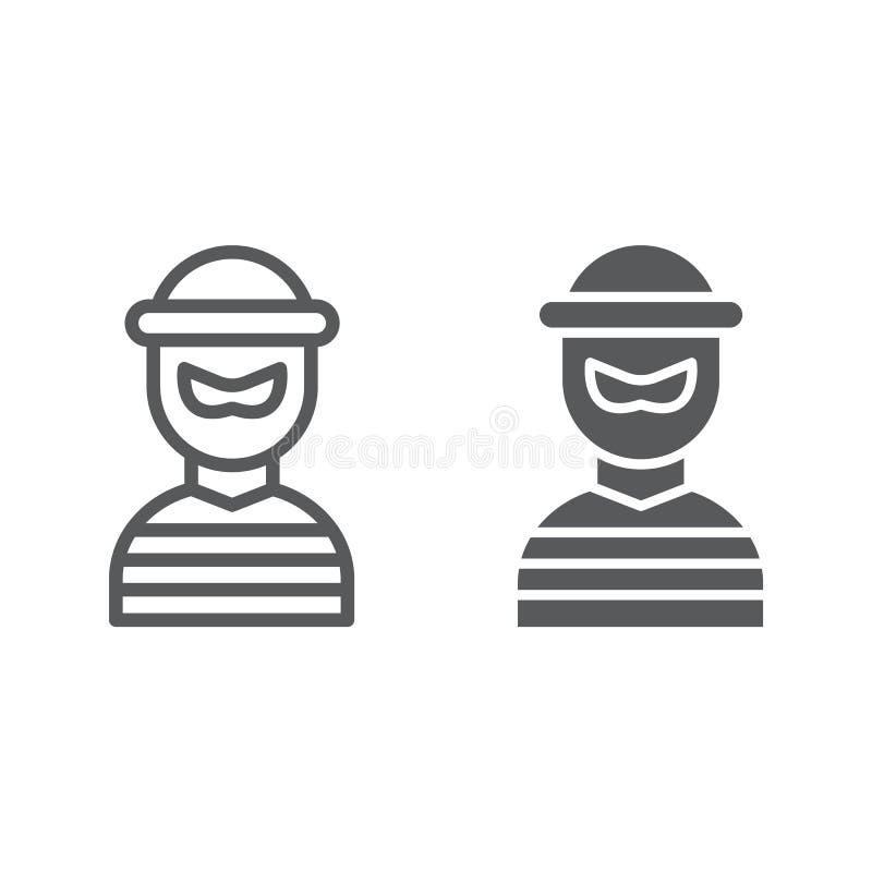 Línea del ladrón e icono del glyph, ladrón y criminal, muestra del bandido, gráficos de vector, un modelo linear en un fondo blan libre illustration