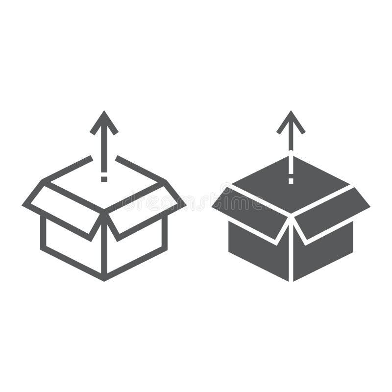 Línea del lanzamiento de producto e icono del glyph, desarrollo libre illustration