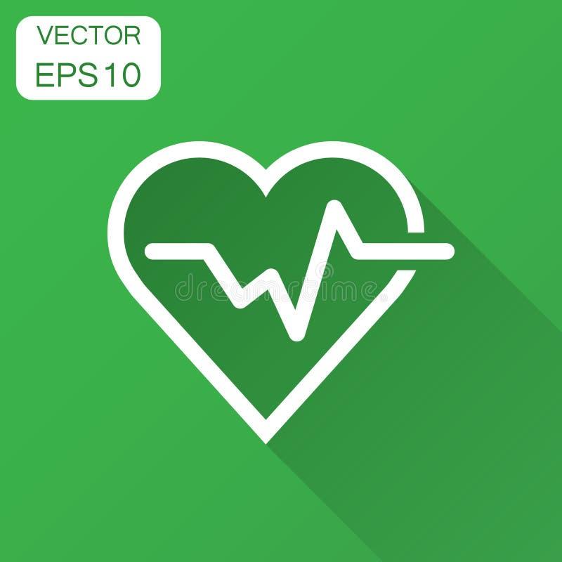 Línea del latido del corazón con el icono del corazón en estilo plano Illustra del latido del corazón stock de ilustración