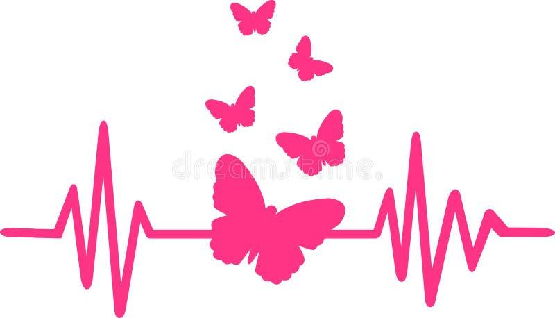 Línea del latido del corazón de la mariposa con el enjambre de la mariposa stock de ilustración